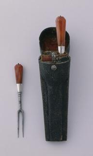 Agate-handled knife and fork, with sharkskin sheath Sheath