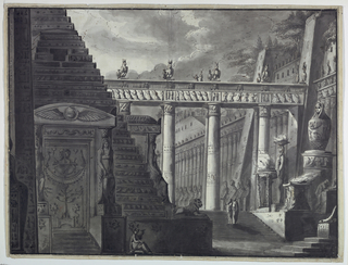 Drawing, Stage Design, Courtyard of an Egyptian Temple