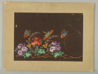 Border design on maroon background: purple and orange flowers on brown thorny branch; 2 butterflies and a dragonfly above branch.