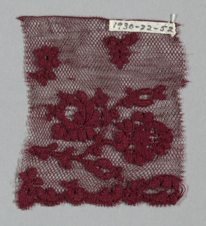 Imitation Spanish lace in red thread. Net ground with floral pattern.