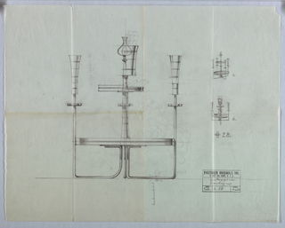 Design for centerpiece. Smaller detailed drawing in upper right are given letters: a and b. Below: #28.