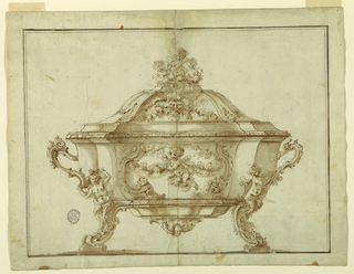 Elevation of a bowl with scrolling feet. In the center, a putto with a garland, in a cartouche. Finial in the form of a putto.