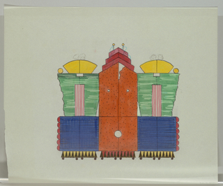 Three panel screen on wheels in form of three abstract, highly decorative, colorful buildings.  Central skyscraper structure in orange with black dotes with red stepped pediment with two antane. Two identical structures on either side with green upper half and blue lower half with red scalloped decoration on outer edge. Yellow fan-shaped pediments on top. Triangular pattern on base.