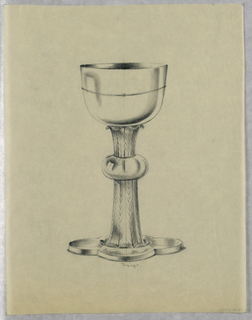 Chalice with 4-lobed base and leafy stem.