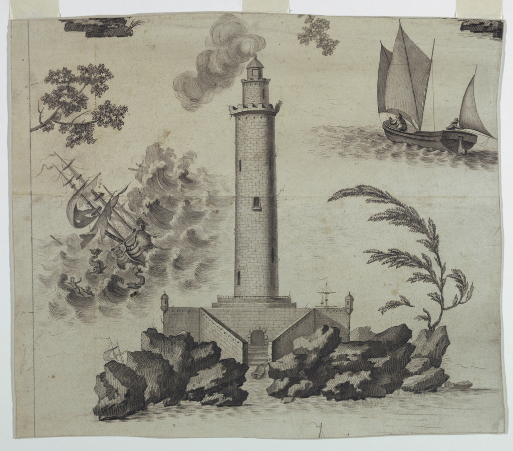 Design of one of eight scenes. Center, lighthouse on rock foundation. Left, ship in distress. Upper right, small sailing vessel in quiet waters.