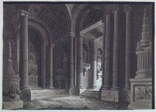 Horizontal rectangle. Portico with tombs and sculptured monuments and ornaments, opening at right toward similar place.