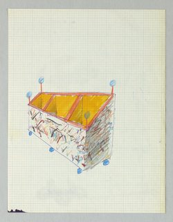 Horizontal storage bin divided into three sections, interior orange/yellow; exterior multi-colored jottings; blue balls on red poles at four corners and blue balls as feet.