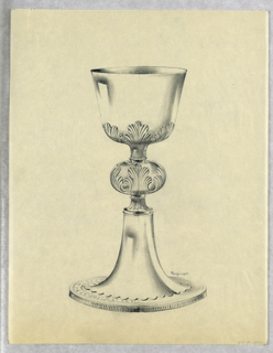 """Presentation design for silver chalice with applied acanthus leaves under and on """"cushion"""" middle of stem; scallops at stem base; vertical engraved decorative lines on side of base; Latin inscription around base: DEO NASC...."""