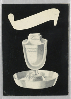 """Design for cigarette lighter with decorative band of cross-hatching below rim and on base above attached plate; ashtray in form of cup in round dish with flaring sides; """"ASR"""" [client's initials?] faintly in graphite in banderole top center; decorative band of cross hatching below rim of lighter and at lighter base above attached plate."""