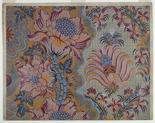 Waved twigs with large blossoms rise against a background with a lace design. This part of the design alternates with another showing panels framed by ribbons with carnations and containing blossoms and seeds.