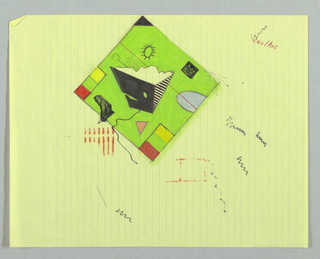 Square field, tipped to left on page.  On green background, pyramidal form with striped, black, and white sides, protrudes or seems to protrude into space of room.  Black cord dangles from bottom of pyramid form into room.  Small black table in shape of Africa in lower left corner, projects into room and rests on wire leg.  Vertical rectangular sections of yellow, green, and red at lower left and right corners of field.