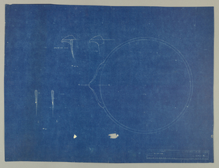 Top view, rim design and spout elevation of bowl with spout; includes notations.