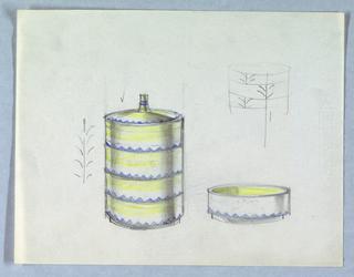 Design for 4 stacking ashtrays.