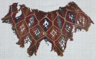 Pattern of polychrome diamonds. Fragment of bonnet or bag