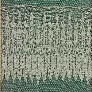 Valenciennes band in design that shows alternating conventionalized motifs placed on pointed leaves which form the border.