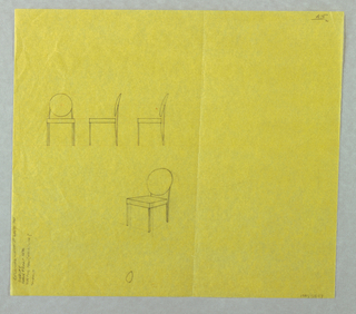 Four studies for chairs with round backs, three shown in elevation view.