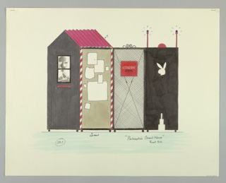 Four panel screen on wheels.  At left, a tall narrow guardhouse with pitched roof and blank papers tacked to side wall.  The guardhouse is attached at right to a metal gate with red sign.  To the right, a black panel with bunny head cut out near top and stepped cut out at bottom.  On top of gate is a red dome with two red poles.