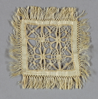 Square of fringed linen with center portion ornamented with drawn and cutwork with lace stitches. One of six samples mounted on a piece of blue satin ribbon.