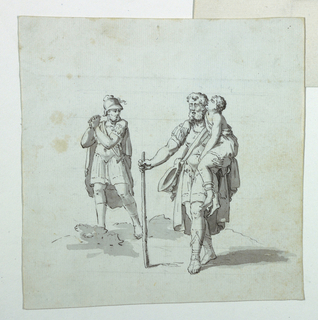 Sketch for one island for a cartoon for cotton printing, showing a blind soldier, staff in hand, holding a young boy on his left arm, while another soldier, nearby, expresses anguish. (Probably an unused island for a Belisarius subject; island shows the blind Belisarius being recognized by one of his soldiers.)
