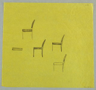 Four studies for chairs with round backs shown in elevation view.