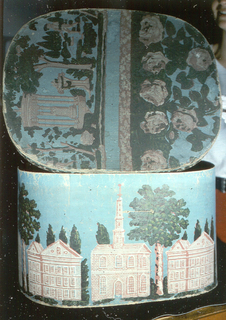 Blue field. Pink brick building: unidentified chapel and buildings. Cover: circular temple in a garden scene with boy fishing in a pool. At opposite end of garden scene is a band of roses, all on a blue field.