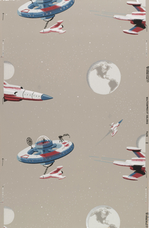 Children's or young boys wallpaper containing red, white, and blue spaceships, rockets, and the planet earth with metallic silver stars on a grey ground.