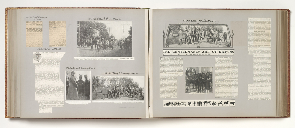 Album of newspaper clippings describing the coach trip from New York to Philadelphia and return. The drivers were James H. Hyde and Alfred Vanderbilt.