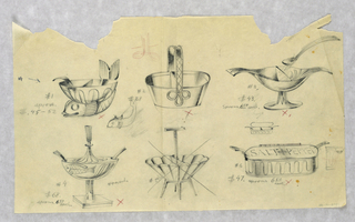 "First design is numbered #1 / $.45-52: fish with bowl and ladle; second design is #2 / $38: basket with trefoil; third design is #3 / $43 / Spoons 6.50 each: footed bowl with bird-like form and small spoon; lower section has the fourth design #4 / #68 / spoons. 6.50 each: footed and stemmed bowl with fish, scalloped lid and fork; ""round""; fifth drawing is a scalloped bowl with four legs, it has been crossed out; final drawing is reminiscent of a sardine can with the words: SALT PEPPER / #6 / $47. Spoons 6.50 each."