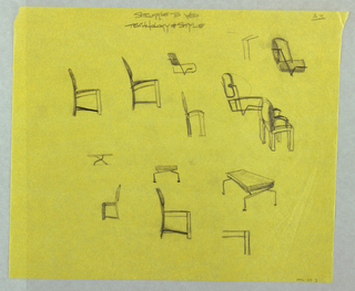 Various rough sketched including side view of chair and table.