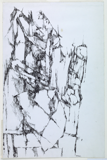 Vertical rectangle. Abstract rendering of a rocky cliff, with some vegetation indicated.