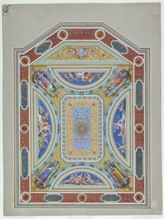 Vertical format design for a painted ceiling. The plan is an oblong with part of an octagon extending below the lower side. Outside framed by mouldings and a frieze with framed classical representations alternating with framed medallion portraits. Rinceaux connect them. The inner field is divided into an oblong and a strip framed by mouldings. In the rhomboid is a coat of arms supported by winged half-figures ending in rinceaux. Quartered shield. 1) Lion rampant 2) ? 3) Probably a dexter arm 4) Lion rampant; escutcheon of pretence. In the center of the oblong is a kind of carpet framed by an entablature shown from below, with bevelled corners. Its molded frame overlaps the verticals of four lunettes in which are represented sea deities. In the four corners are obliquely disposed niches with figures of standing women.