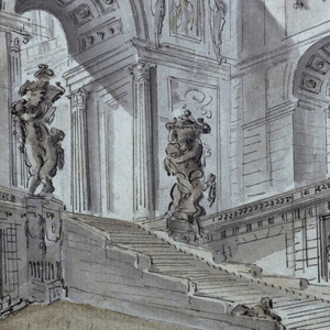 Design for a stage set.  A view of a palace from the left angle and from below.  A broad path leads to the stairs and the arch.  Ruled and curved border at the top.