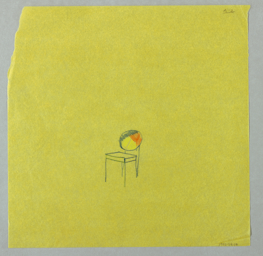 Study for a single chair at center of page. Seat back is colored grey, yellow and orange.