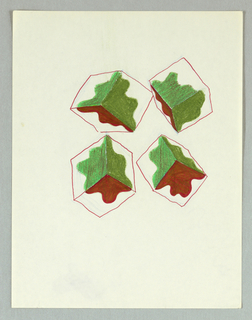 "Four white and colored cubes, in perspective, float on sheet.  Cubes decorated with ""blob"" shapes:  red on undersides and green on upper two sides."