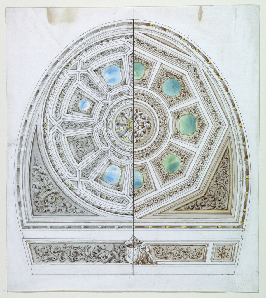 Design for a horseshoe shaped chamber, showing panels opening to simulate sky. The right half is octagonal in shape. Below, ducal arms.