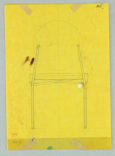 Large study for a single chair with round back.