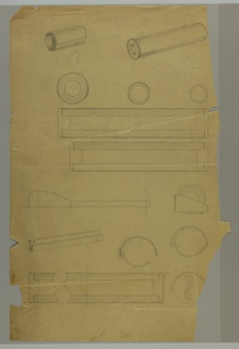 Components of dispenser including wall bracket; side, front and top view.
