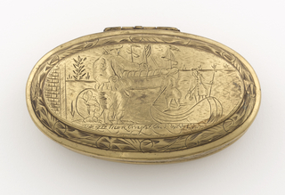 Oval box with hinged cover. Engraved lid with harbor scene and inscription.  In foreground, figure at shore greets two figures about to alight a smaller boat. In the near distance, a boat sits in harbor.  On the underside, farmyard scene and inscription. In the foreground towards right, a man stands near a well(?) surrounded by chickens and a horse or mule.  In the background, a woman stands near pair of pigs and a spindle(?).  Bordering both scenes and decorating the side of the box are engraved wave patterns.