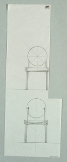Two studies for chair with wedge seat.