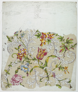 Print, Trial Proof for a Flower Chintz