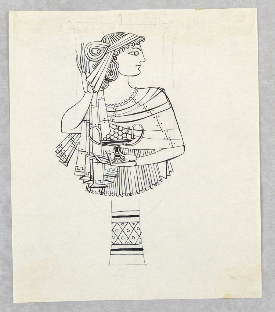 Head and torso of a woman is shown in profile.  She is shown in classical Greek dress holding a kantharos-shaped vessel with grapes.  Bowl or goblet is drawn over the figure in graphite; the foot is decorated with geometric designs drawn in black ink.