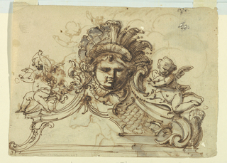 Horizontal rectangle showing design for an architectural ornament. A mask crowned with a leaf diadem on top of a pediment, the field of which is scalloped. At left, a putto with a thread sits on the cornice. At right, a flying putto. Verso: Jupiter with thunder bolt and eagle.