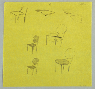 Five studies for chairs with square and round seats