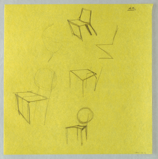 Various rough sketched including oblique views of chairs.