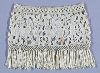 Tubular shape made of machine-made lace patterned with a symmetrical repeat of a tree, man on horseback, and a man holding a pike. Knotted net with fringe sewn to bottom edge. Machine-made edging along top.