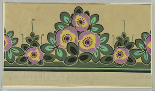 Stylized flowers in mauve, green and yellow on a tan ground