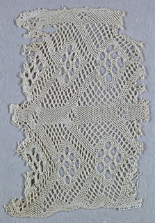 Pattern of upright bars with projecting diagonals that meet to form lozenge shapes worked in twisted threads. The mesh is hexagonal and has two sizes.