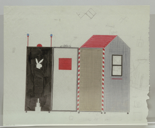 "Four panel screen on wheels.  Two left panels form a gray and brown guard house with red roof, which is attached at right to black metal gate with red ""danger"" sign.  This panel is attached at right to black panel with bunny head and stepped cut outs topped by red dome with red poles on either side.  Small assembly diagrams in left, upper and lower margins."