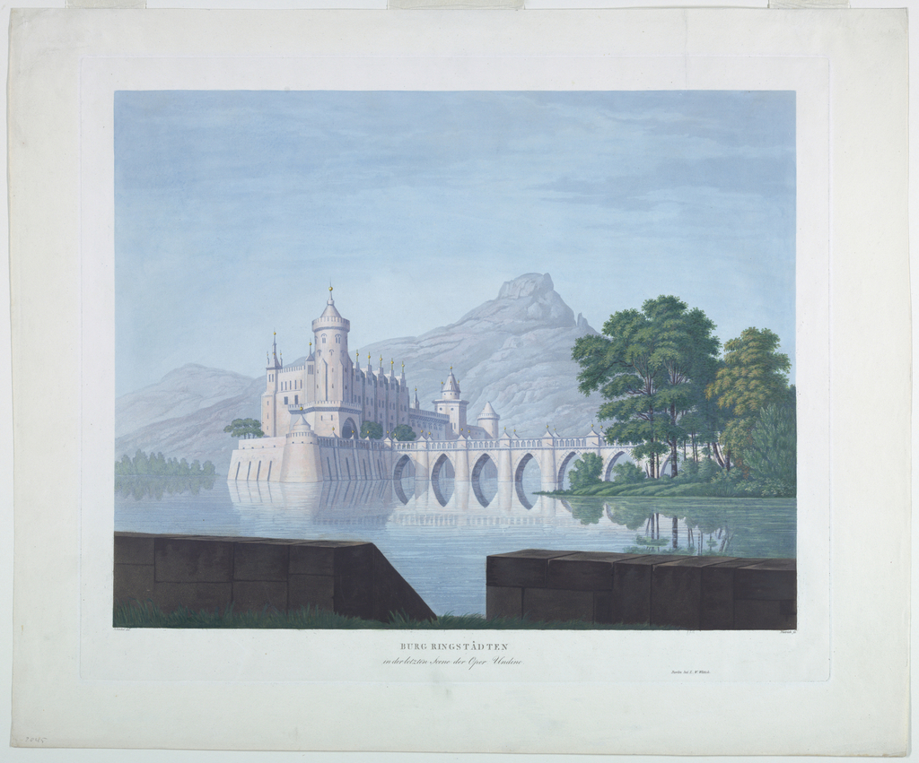 Print, Stage Design: Ringstadten Castle, for the Last Scene of Undine