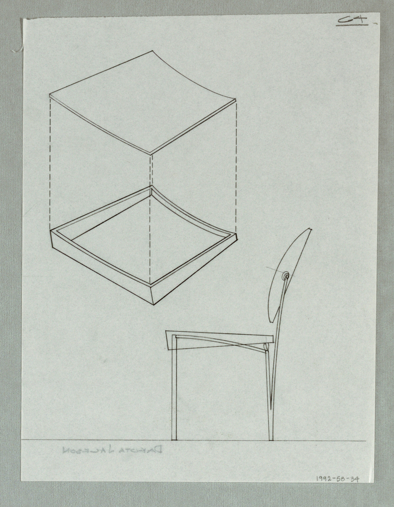 Elevation view of chair and oblique cube.